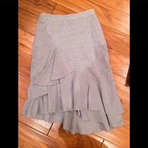 Ruffle navy and white midi skirt